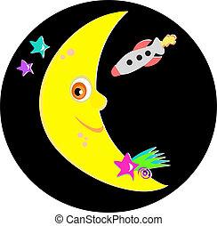 sourire, étoiles, fusée, lune