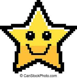 sourire, 8-bit, étoile, dessin animé