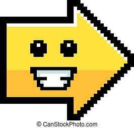 sourire, 8-bit, dessin animé, flèche