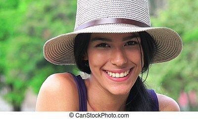sourire, adolescent, face femelle
