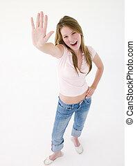 sourire, adolescent, haut, girl, main