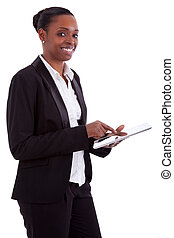 sourire, américain africain, femme affaires, utilisation, a, tablette