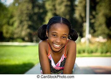 sourire, américain, girl, africaine