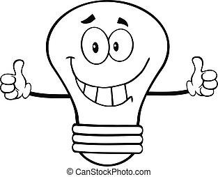 sourire, ampoule, esquissé, lumière