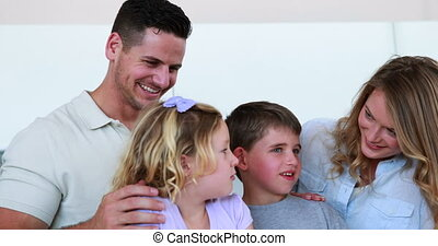 sourire, appareil photo, famille, heureux