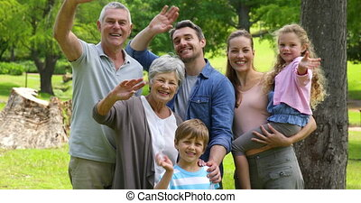 sourire, appareil photo, génération, famille