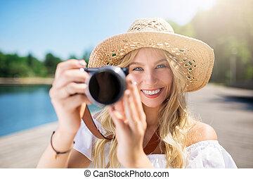 sourire, appareil photo