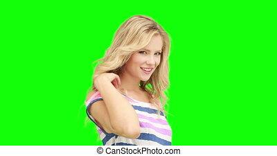 sourire, appareil photo, joli, blond