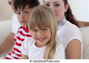 sourire, appareil photo, portrait famille