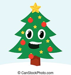 sourire, arbre, noël, heureux