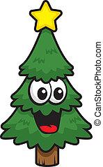 sourire, arbre, noël