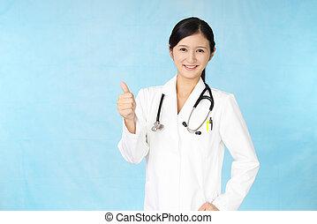 sourire, asiatique, docteur médical