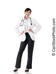 sourire, asiatique, médecine, docteur, femme