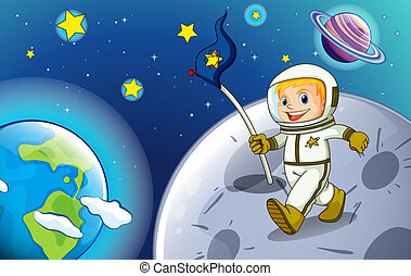 sourire, astronaute, outerspace