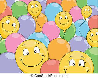 sourire, ballons, fond