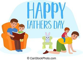 sourire, banny, peu, jouet, donner, set., père, ferroutage, livre, chair., lecture, papa heureux, plat, sien, séance, enfant, jour, garçon, fauteuil, cavalcade, s, vecteur