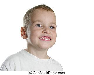 sourire, blanc, garçon