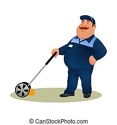 sourire, bleu, rigolote, service, caractère, isolé, arrière-plan., paysan, blanc, soin, jardinier, heureux, plat, coloré, complet, ouvrier, graisse, découpage, illustration, mower., dessin animé, homme, pelouse, vecteur, herbe
