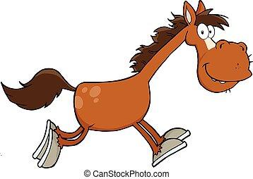 sourire, caractère, cheval, dessin animé