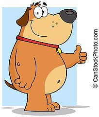 sourire, caractère, chien, graisse, dessin animé