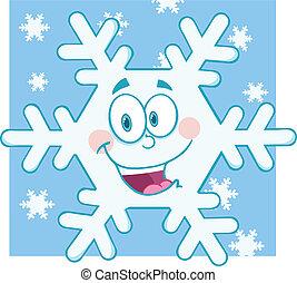 sourire, caractère, flocon de neige