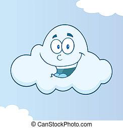 sourire, caractère, nuage