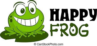 sourire, caractères, rigolote, logo, vecteur, crapaud, illustration., mignon, dessin animé, fond, dessiné, marchandises, mascotte, séance, vêtements, grenouille, leaf., blanc, main, enfants, isolé, insigne, magasin, gosse