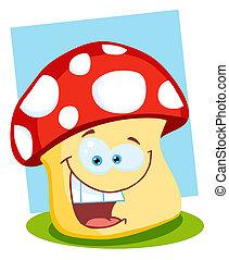 sourire, champignon, illustration