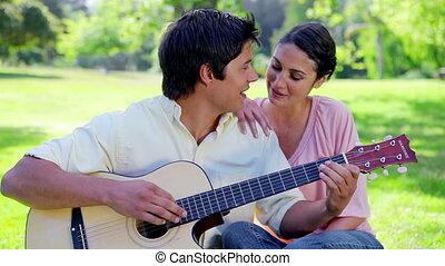 sourire, chant, couple, ensemble