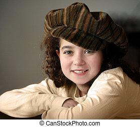 sourire, chapeau, girl