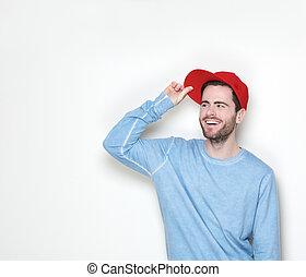 sourire, chapeau, jeune homme