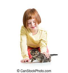 sourire, chat, chaton, girl, jouer, gosse