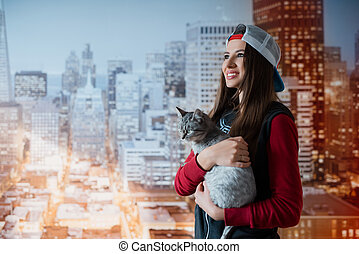 sourire, chat, girl, mains