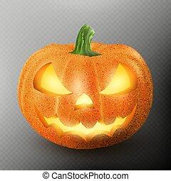sourire, citrouille, eps, lanterne, figure, luisant allumer, effrayant, halloween, 10, o, cric, expression., lighten, intérieur., réaliste, bougie