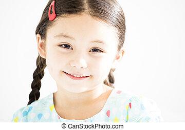 sourire, closeup, petite fille, figure