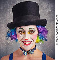 sourire, clown, coloré