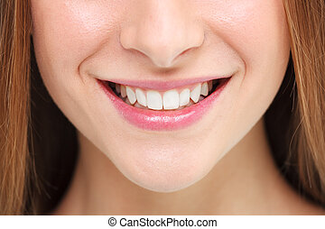 sourire,  concept, femme, blanchir, dents