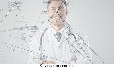 sourire, connexions, bras, données, contre, docteur, portrait, mâle, traversé, réseau, traitement