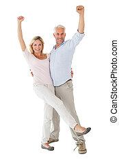 sourire, couple, appareil photo, applaudissement