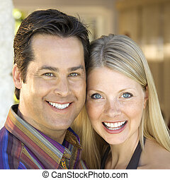 sourire., couple, caucasien