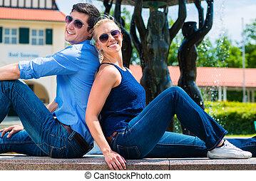 sourire, couple, dos, séance