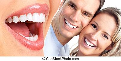 sourire, couple., heureux