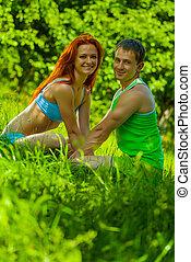 sourire, couple, sports