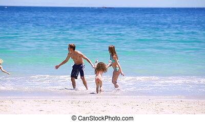 sourire, courant, ensemble, famille