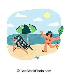 sourire, courant, feuille, heureux, parasol, travers, plage paume, concept., elle, chair., femme, tourisme, salon, resuming