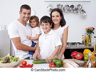 sourire, cuisine famille, ensemble