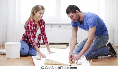 sourire, découpage, couple, papier peint
