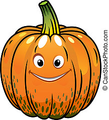 sourire, dessin animé, automne, citrouille