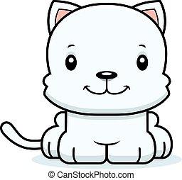 sourire, dessin animé, chaton