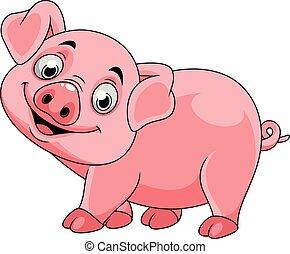 sourire, dessin animé, cochon